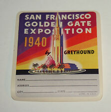 1940 San Francisco Golden Gate Expo Greyhound Bus Luggage Label Unused NOS New