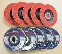 "Lot of (10) Ceramic Flap Disc Grinding wheel 4-1/2""x7/8"", 60 Grit"