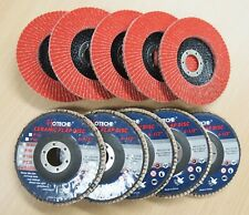 "Lot of (10) Ceramic Flap Disc Grinding wheel 4-1/2""x7/8"", 60 Grit"
