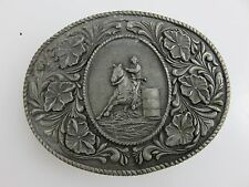 Cowboy Rodeo Rider Belt Buckle Silver Tone Vintage 1974 LTC Western Products USA