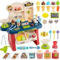 HERSITY 34Pcs Mini Ice Cream Shop Till Role Play Supermarket Toys Pretend Food