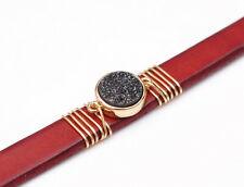 Fashion Natural Druzy Quartz Leather Bracelet Cuff Wristband Bangle Red Unisex