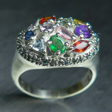Natural Sapphire, Emerald, Aquamarine 925 silver /9ct 14k 18k Gold Platinum ring