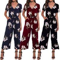 Women Ladies Floral Print V Neck Playsuit Short Sleeve Romper Loose Jumpsuit