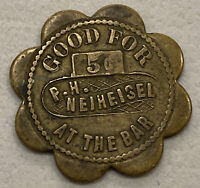 P.H. Neiheisel Good For 5 Cents At The Bar Trade Token