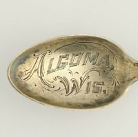 Algoma Wisconsin Souvenir Spoon - Sterling Silver Vintage Collectors Engraved