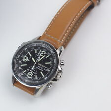 MEN'S SEIKO 41mm SOLAR ALARM CHRONOGRAPH BROWN LEATHER ANALOG WATCH SSC081