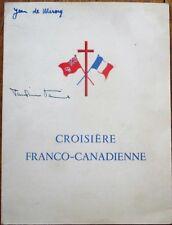 Menu: Croisiere Franco-Canadienne 1949 France/Canada w/O Canada! Anthem