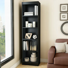 "Black 71"" Vertical Slim 5 Shelf  Bookcase Home Office Living Storage Furniture"