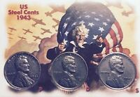 1943 P-D-S (3 coins) STEEL LINCOLN WHEATIES (GEM BEAUTIES) IN A DISPLAY CASE #98