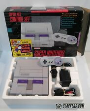 Super NES CONSOLE Super Nintendo SNES CONTROL SET Complete In Box!! w/GAME