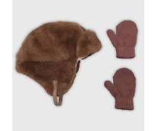 Cat & Jack Toddler Brown Fuzzy Bomber Hat with Mittens Gloves Size 12 - 24M