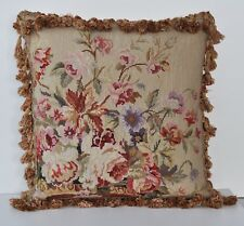 """18"""" Square Roses Handmade Wool Needlepoint Cushion Pillow Cover Free Shipping"""