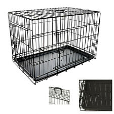 "Dog Pet Training Transport crate Fold Flat cage Removable Tray Medium 30"" S247"