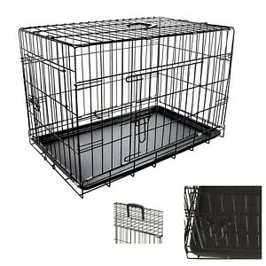"""Dog Pet Training Transport crate Fold Flat cage Removable Tray Medium 30"""" S247"""