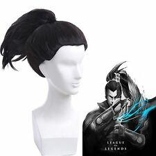 LOL Yasuo the Unforgiven Black Ponytail Styled Synthetic Cosplay Full Wig