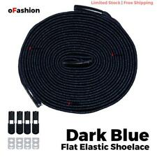No Tie Shoelace Flat Elastic Shoe Lock Lace Sport Sneakers Unisex Dark Blue