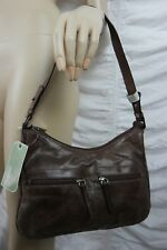 MILLENI dark brown 100% Italian leather small shoulder bag handbag BNWT