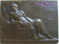 MED10652 - MEDAILLE PLAQUE art nouveau - MEDITATION par DROPSY