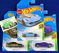 Hot Wheels - Lot of 3 - PORSCHE 911 GT3 - 720S Purple - Lamborghini Sesto - C79