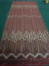 GORGEOUS RED SPARKLE GLITTER SOFT TULLE BRIDAL MESH LACE FABRIC
