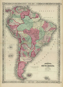 1864  Johnson's SOUTH AMERICA- Folio Size map