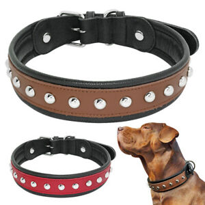 4cm Wide Cool Studded Leather Pet Collar for Medium Large Dog Soft Padded M L XL