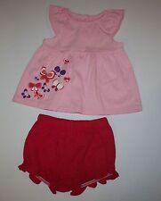 New Gymboree 2 Piece Pink Butterfly Top & Shorts Set Size 3-6M Sunset Glow Line