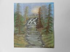 Mountains, river and waterfalls sunrise from a Bob Ross TV demo in oil on canvas