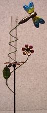 """Rain Gauge Dragonfly NEW metal with plastic tube records 5"""" & 12.2 cm"""