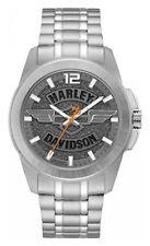 Harley-Davidson Men's Wing Bar & Shield Stainless Steel Watch, Slate Gray 76A157