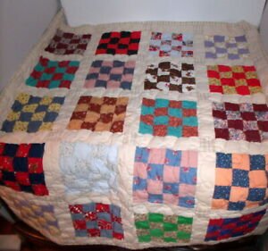 """Handmade 16 PATCH  Completed Quilt - Ready to Use! 33"""" x 40"""" Lap or Baby"""