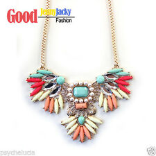 Fashion Vintage Red Blue White Gems Crystal Pendant Necklace Long Gold Chain