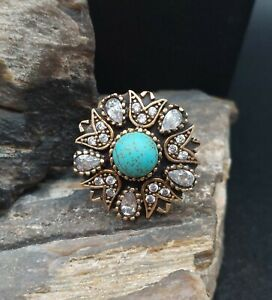 Vintage Sterling Silver Turquoise Clear Cluster Cocktail Ring Fine Antique...