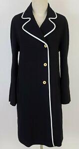 ANNA MOLINARI Double Breasted Trench Coat Jacket Long Blazer Leather Trim sz 44