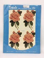 Vintage Meyercord Decals Pink Roses Rose Floral Unused X 540-B NOS