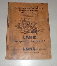 Operating Instructions/Parts Catalog Lanz Gespannbinder L