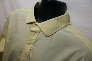 Tommy Hilfiger Mens Yellow Dress Shirt Sz 17 1/2 34-35 Regular Fit Cotton