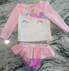 Cat & Jack 12 Month Baby Toddler Girl Unicorn Two Piece Rash Guard Swimsuit
