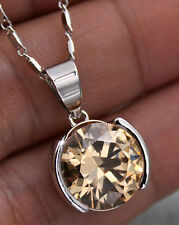 18K White Gold Filled - 12MM Big Morganite Topaz Zircon Round Pendant Necklace