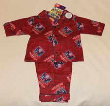 Melbourne Demons AFL Boys Maroon Printed Flannel Pyjama Set Size 0 New