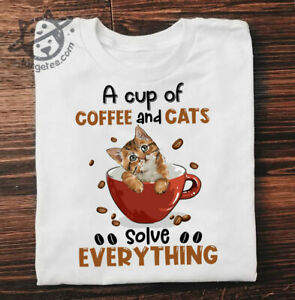 Men's A Cup Of Coffee And Cats Solve Everything 2021 White T-shirt
