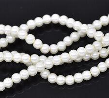 2 x 32inch Strand ivoire ~ ~ 4 mm perle ronde perles de verre ~ ~ bracelets collier (15c)