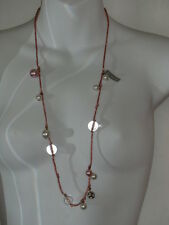 J.Crew Metallic Pink String Faux Pearl Bead Fireball Dainty Necklace NWOT 28.50