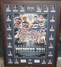 GEELONG 2011 Premiership Tribute Poster and Premiership select card set *Signed*