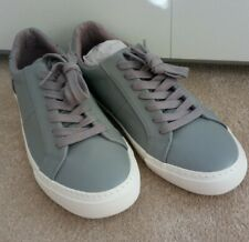 Topman Men's Grey PU Henri Lace Trainers Size 7 NEW Casual