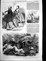 Antique Old Print Partridge Covey September Fashions St Annes Penistone 1857