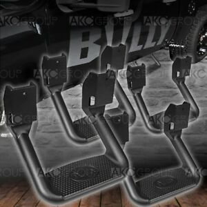 4 x Powder Coat Black Aluminum Side Steps Fits Select Chevy Dodge Ford GMC Ram