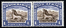 SOUTH AFRICA 1939 1 Shilling Brown & Chalk Blue RECESS Bilingual Pair SG 62 MINT
