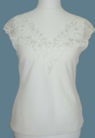 Jane Norman Synthetic Brocade Detail Top Cream Size UK 12 rrp £29 DH002 GG 06
